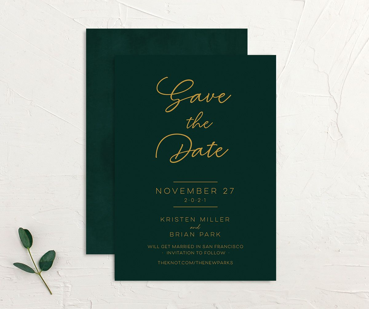 Gold Calligraphy Save the Date Card front and back green
