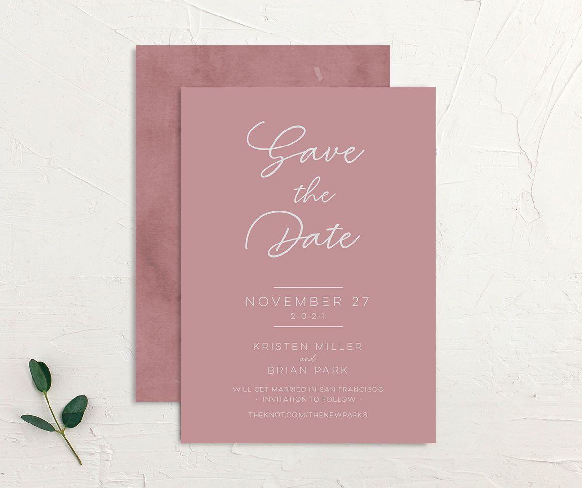 Gold Calligraphy Save the Date Card front and back pink
