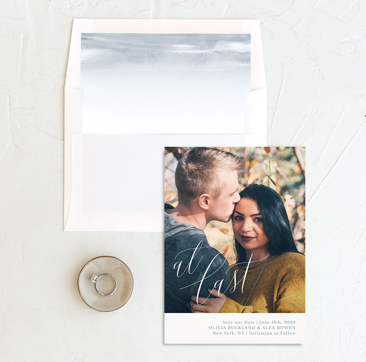At Last save the date with photo front + liner blue
