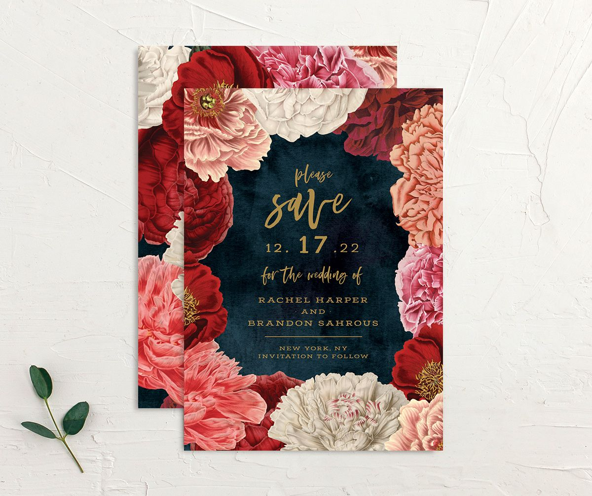 Midnight Peony Wedding Save the Date Card front and back