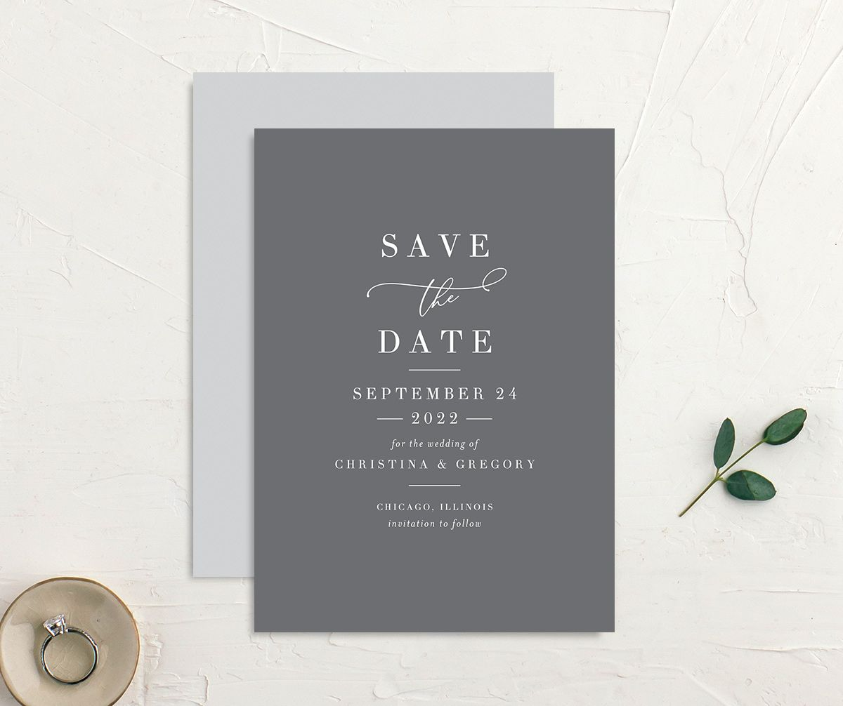 Romantic Calligraphy Save the Date Card front and back grey