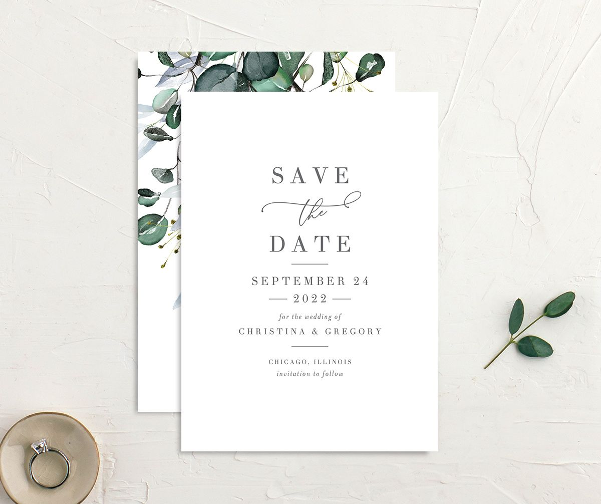 Romantic Calligraphy Save the Date Card front and back mulberry