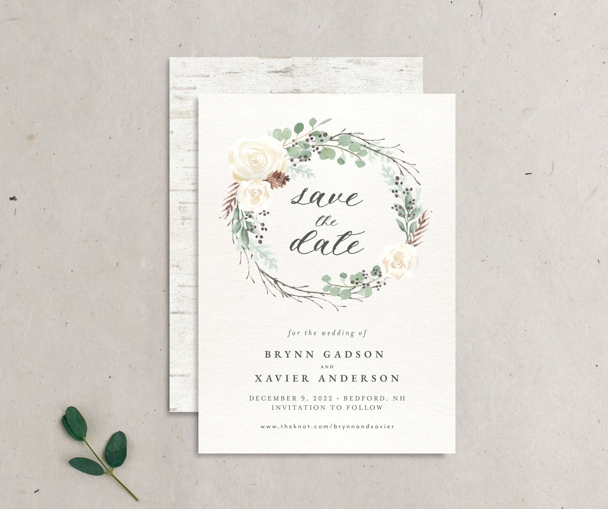 Rustic Botanical Wedding Save the Date front and back