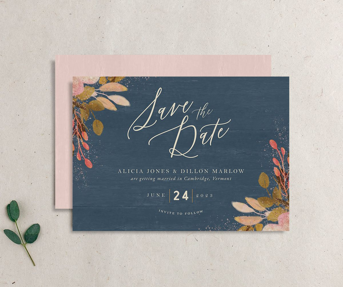 Rustic Leaves Wedding Save the Date front and back