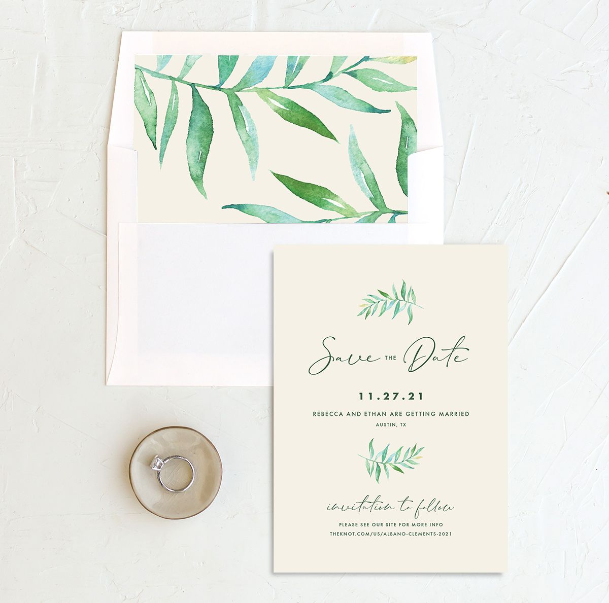 Calligraphic Botanical Save the Date and Envelope Liner cream
