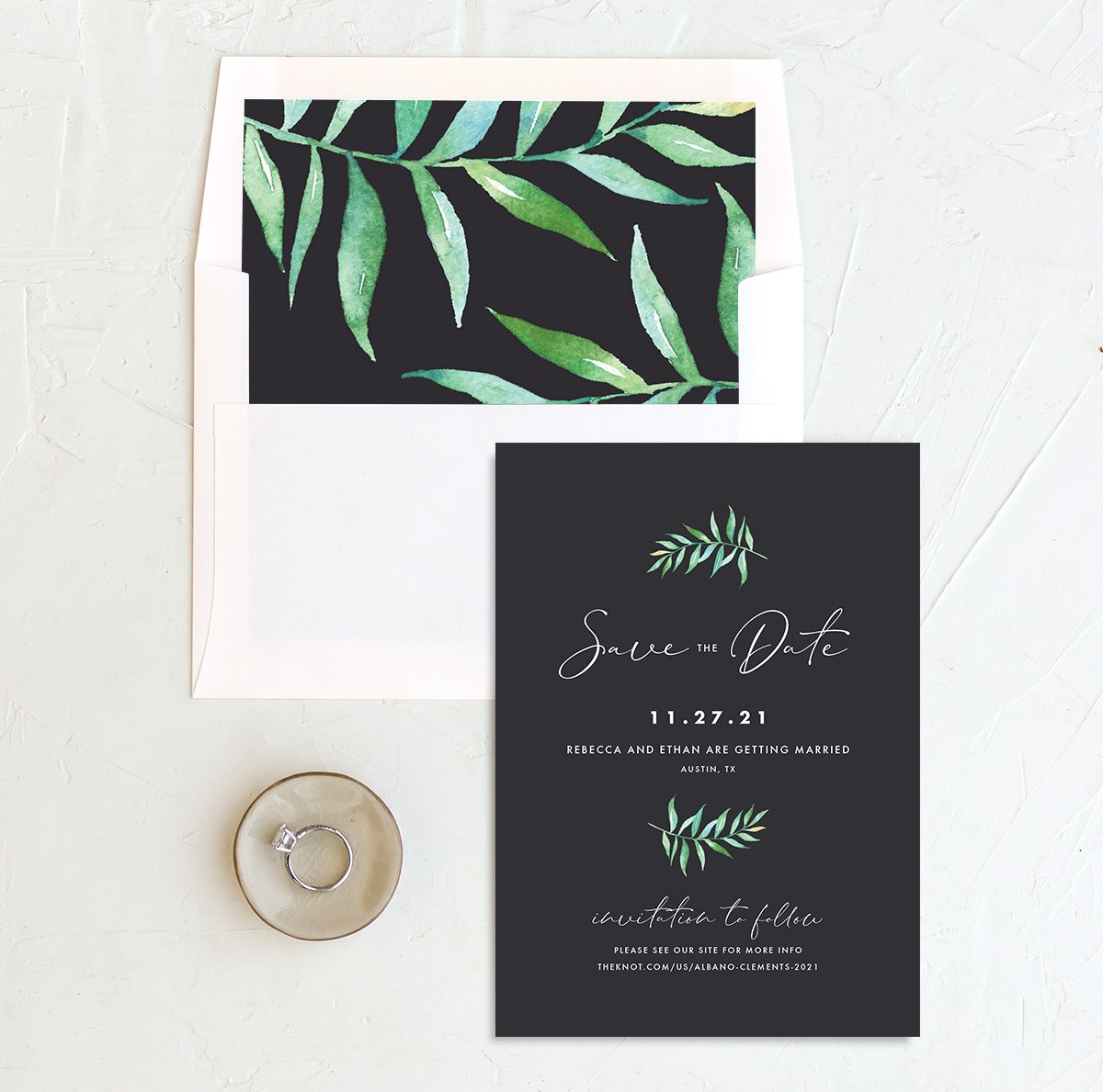 Calligraphic Botanical Save the Date and Envelope Liner grey