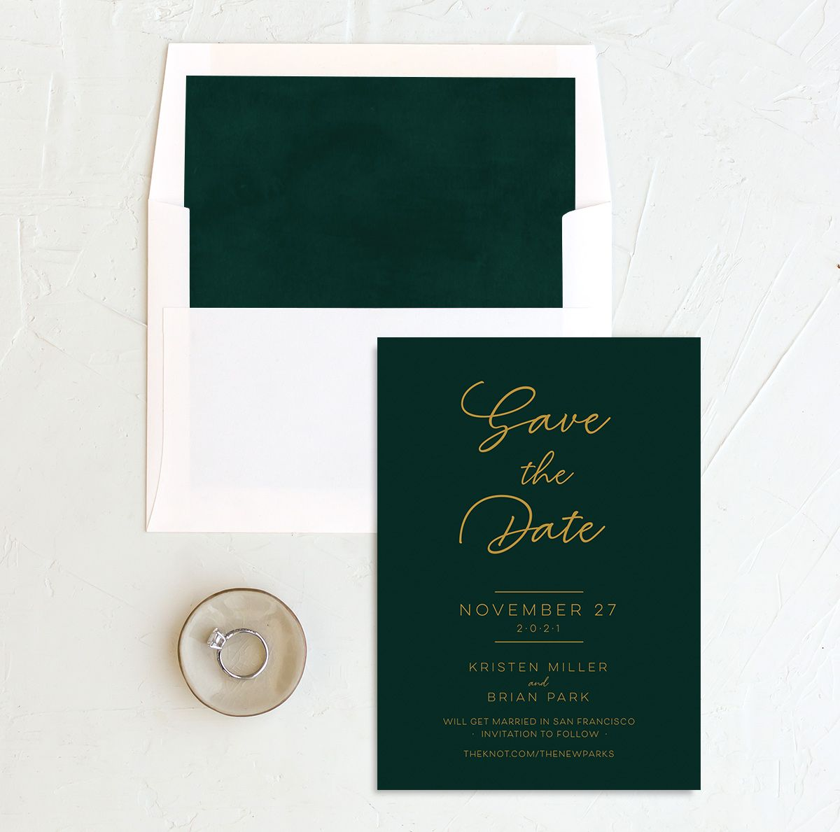 Gold Calligraphy Save the Date Card and Envelope Liner green