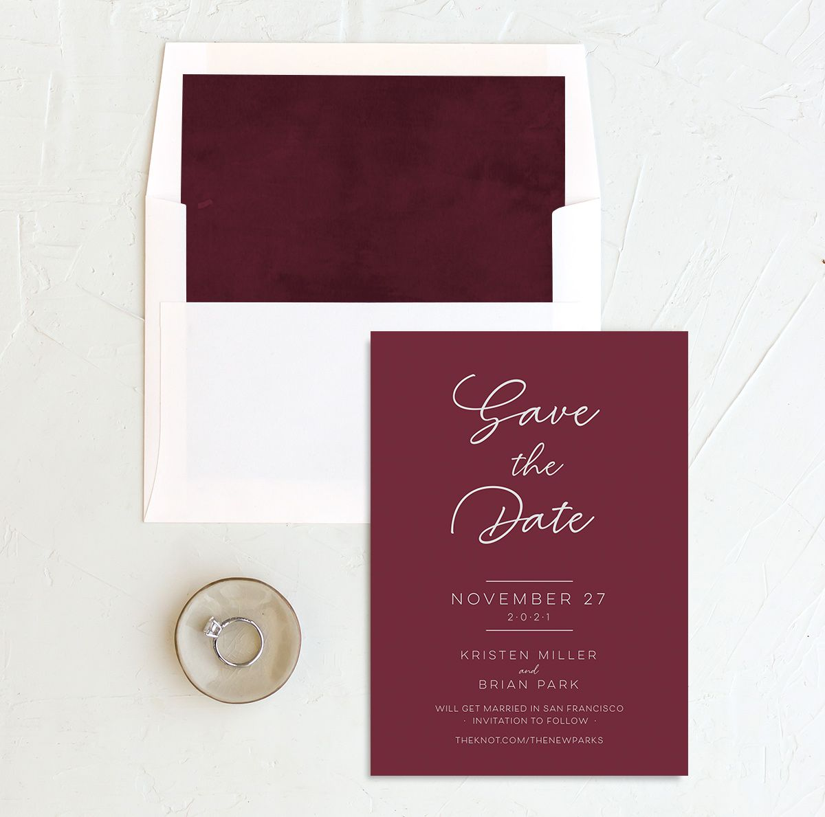 Gold Calligraphy Save the Date Card and Envelope Liner red
