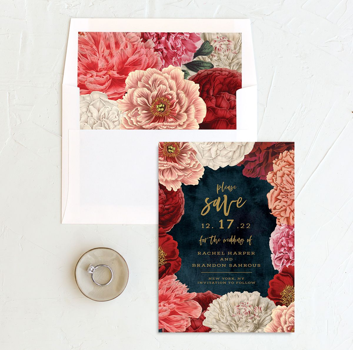 Midnight Peony Wedding Save the Date Card and Envelope Liner
