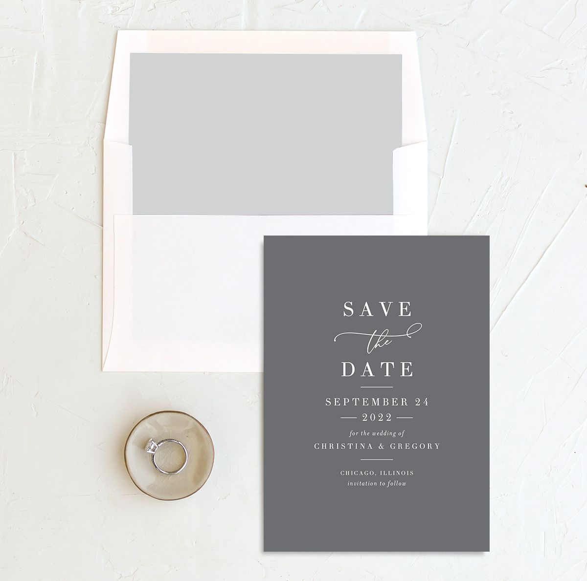 Romantic Calligraphy Save the Date Card and Envelope Liner grey