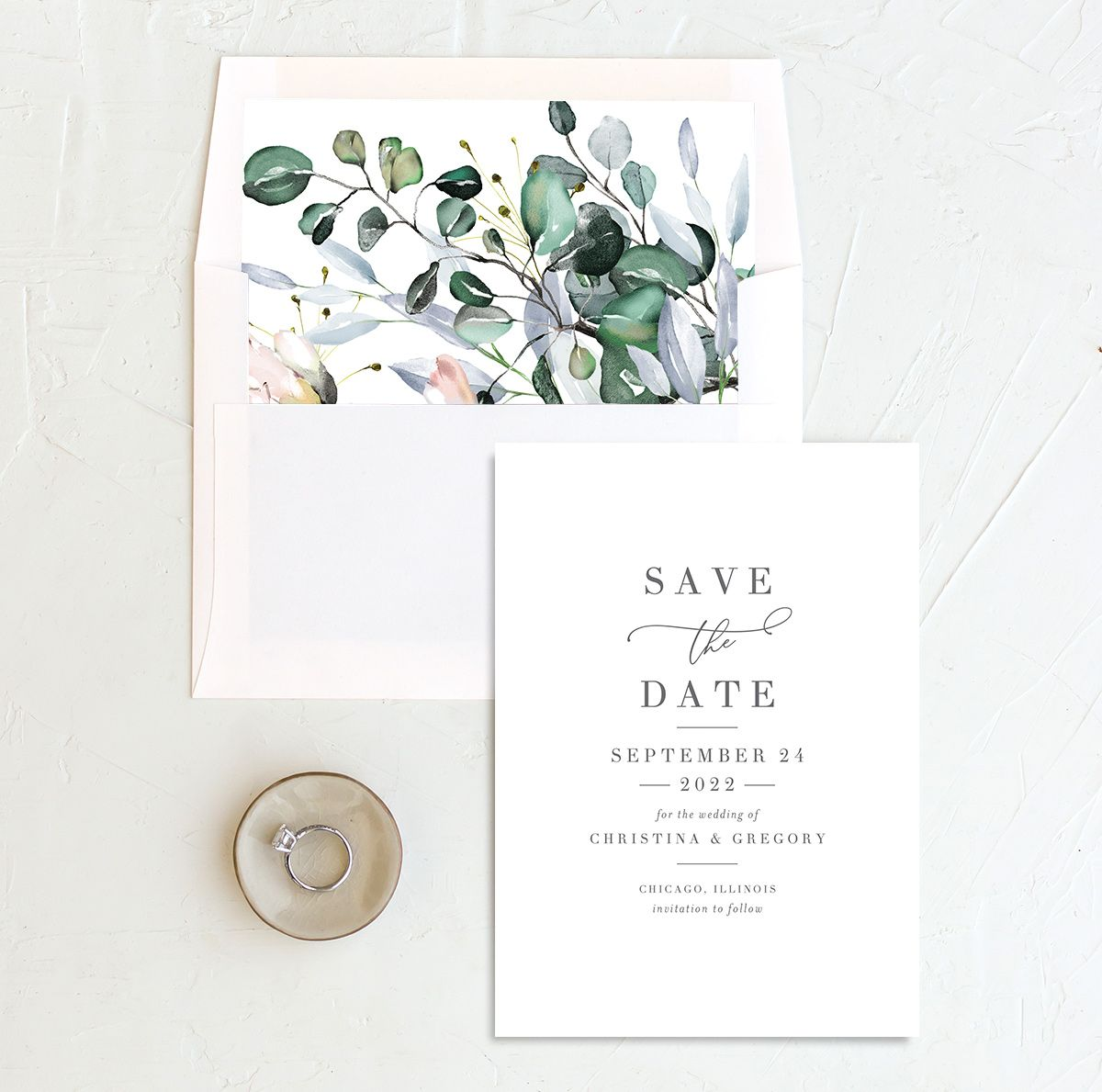 Romantic Calligraphy Save the Date Card and Envelope Liner mulberry