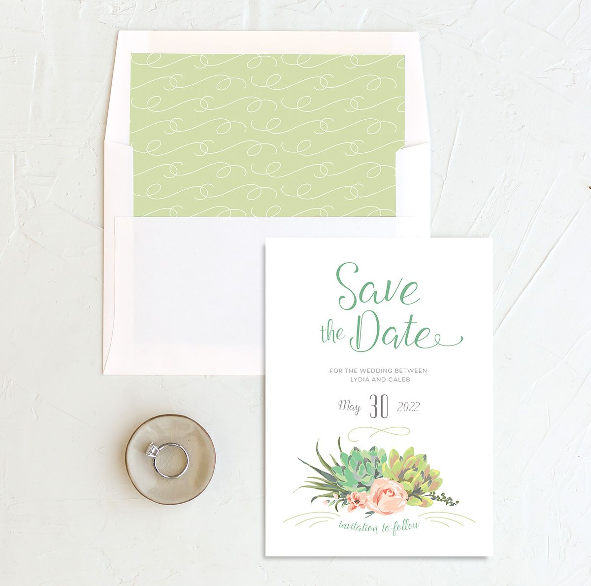 Romantic Succulents save the date with liner green