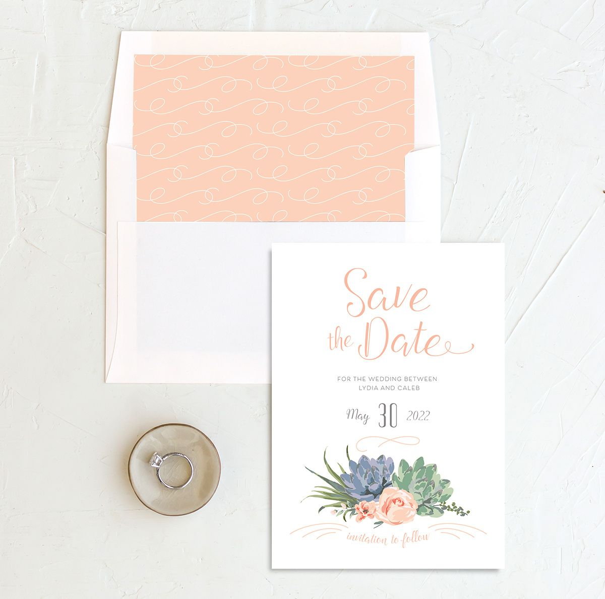 Romantic Succulents save the date with liner pink
