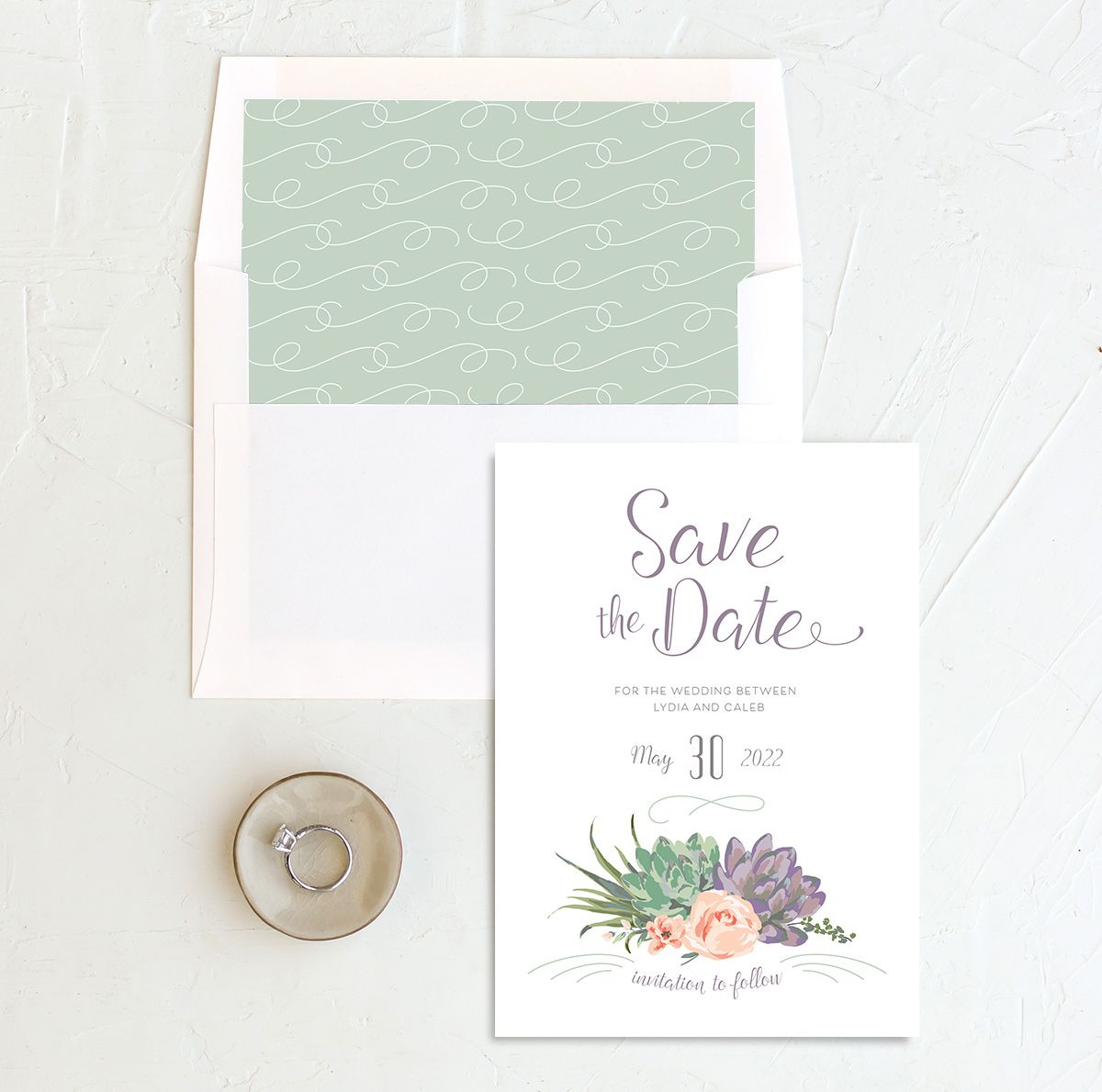 Romantic Succulents save the date with liner purple