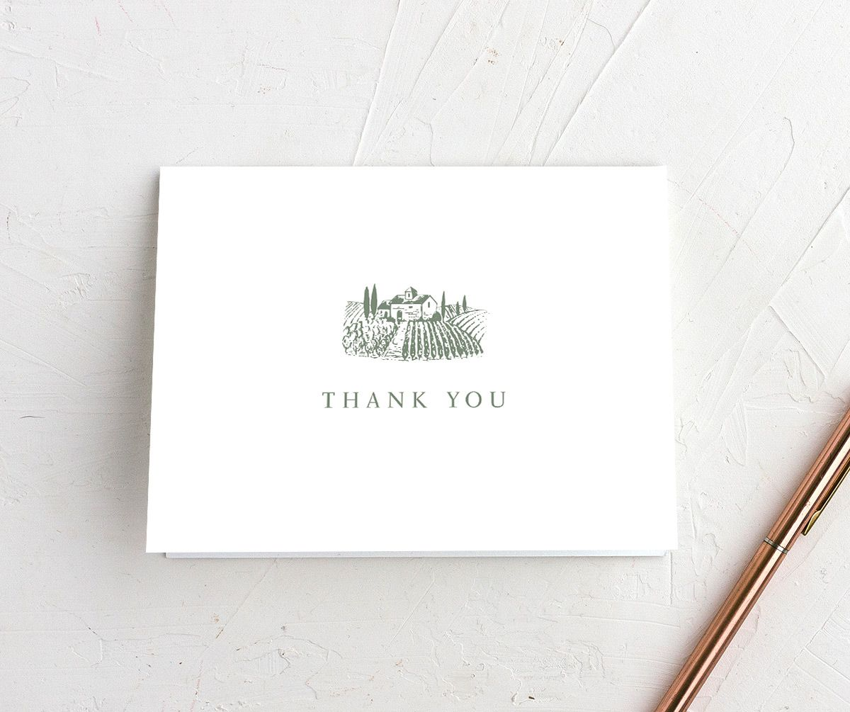 Classic Landscape Thank You card green