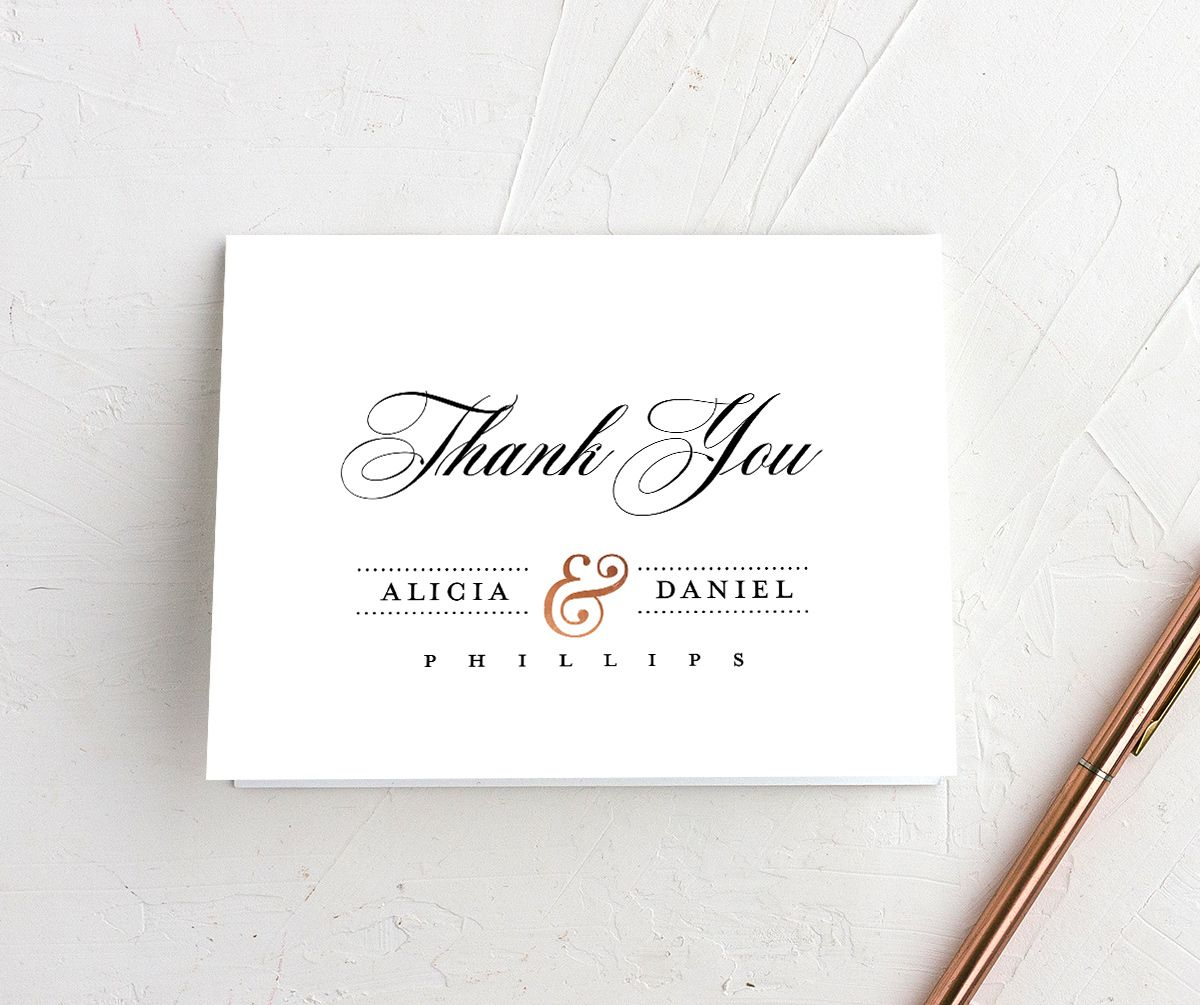 Formal Ampersand Thank You Card front white