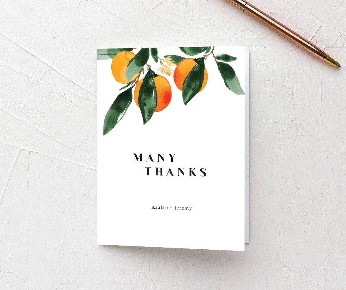 Orange Citrus Wedding Folded Thank You Card