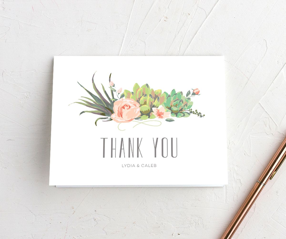 Romantic Succulents thank you card green