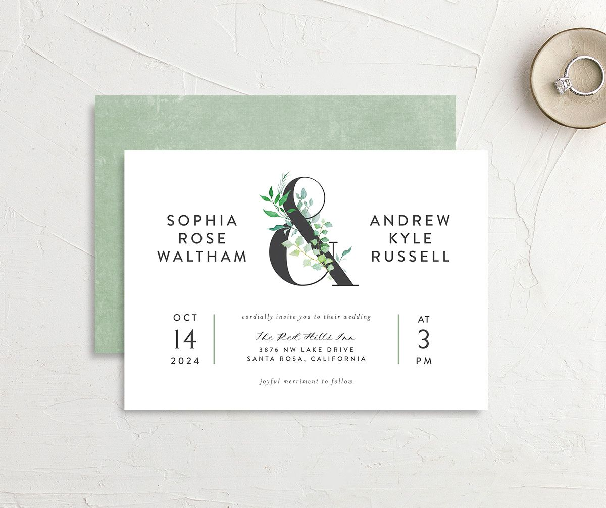 Leafy Ampersand wedding invite front & back green