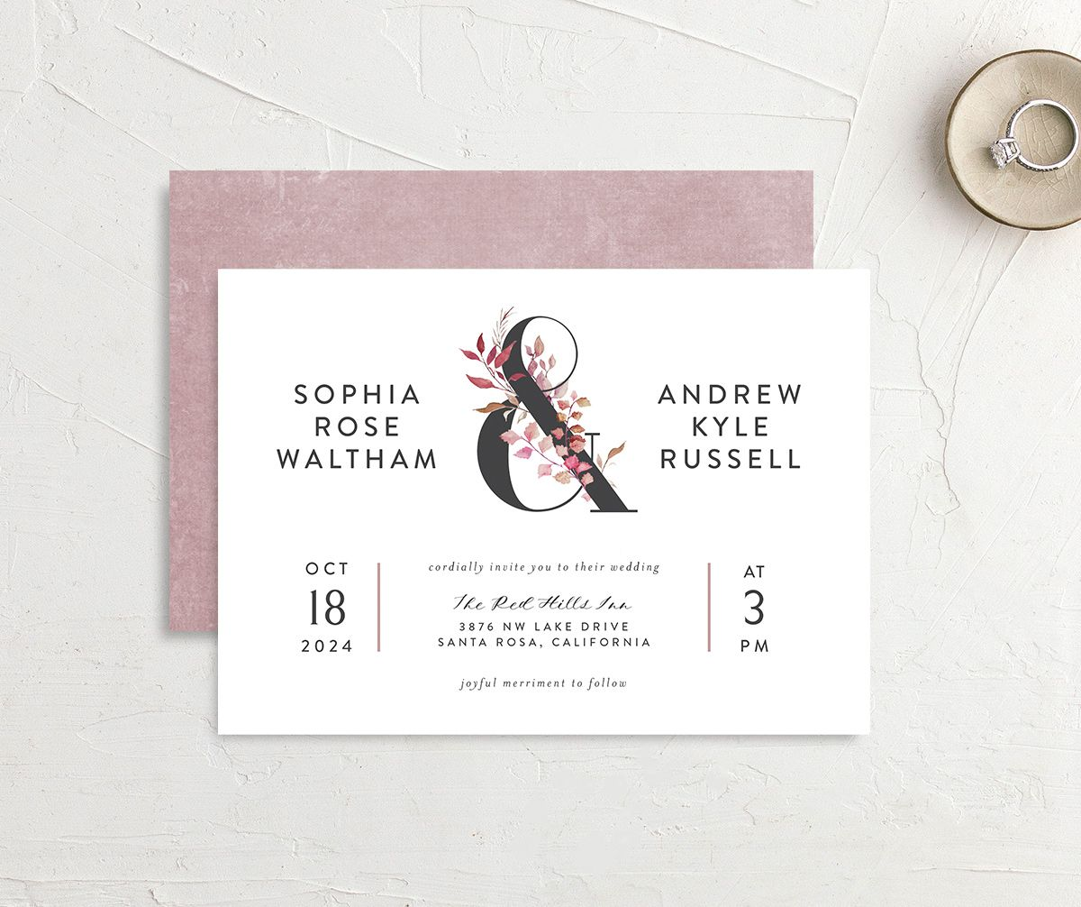 Leafy Ampersand wedding invite front & back purple