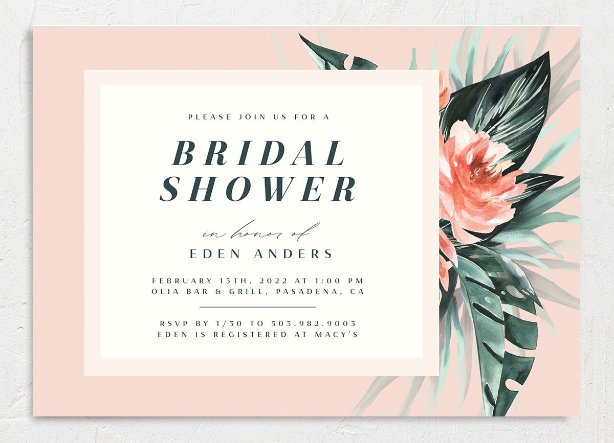 Mod Tropic Bridal Shower Invitation front closeup in pink