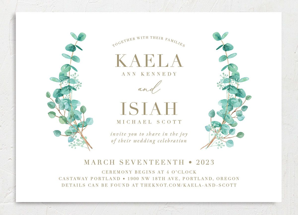 Elegant Eucalyptus Wedding Invitation front