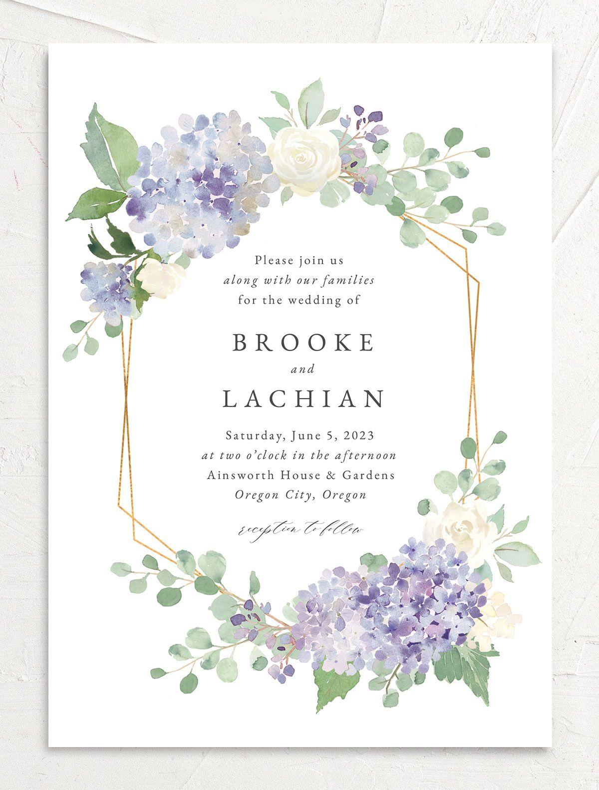 elegant hydrangea wedding invitations  the knot