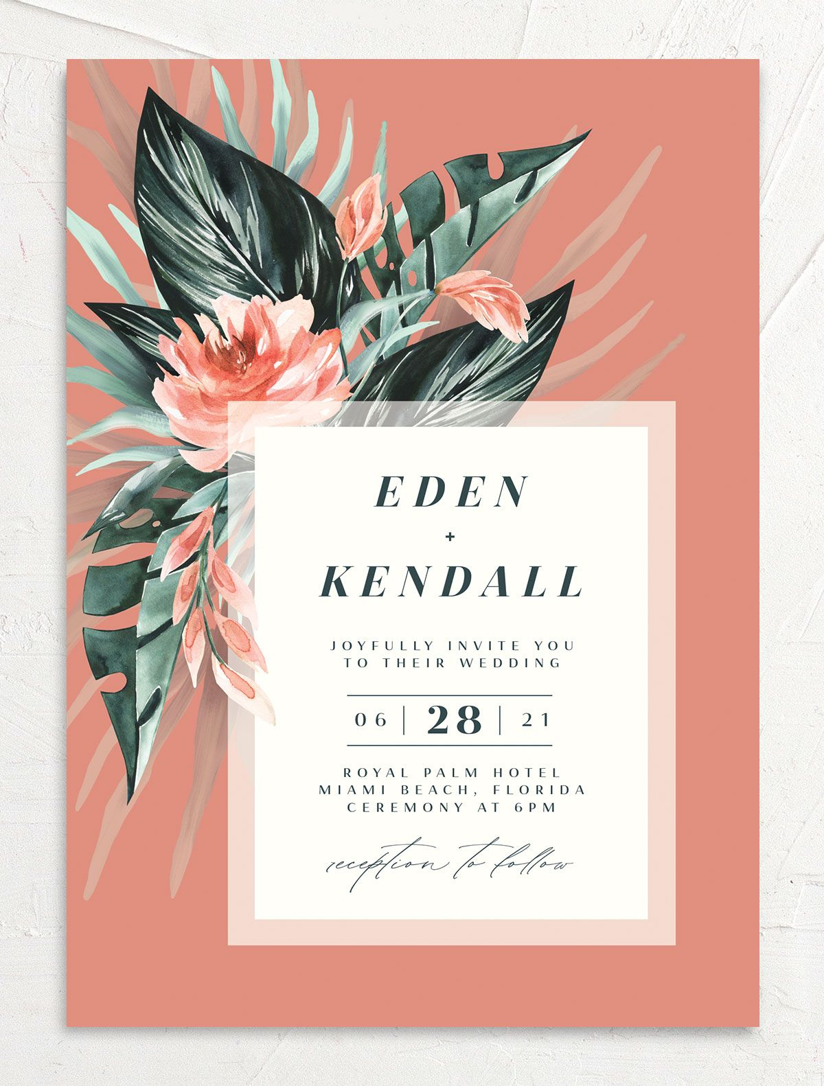 Mod Trop Wedding Invitation front in pink