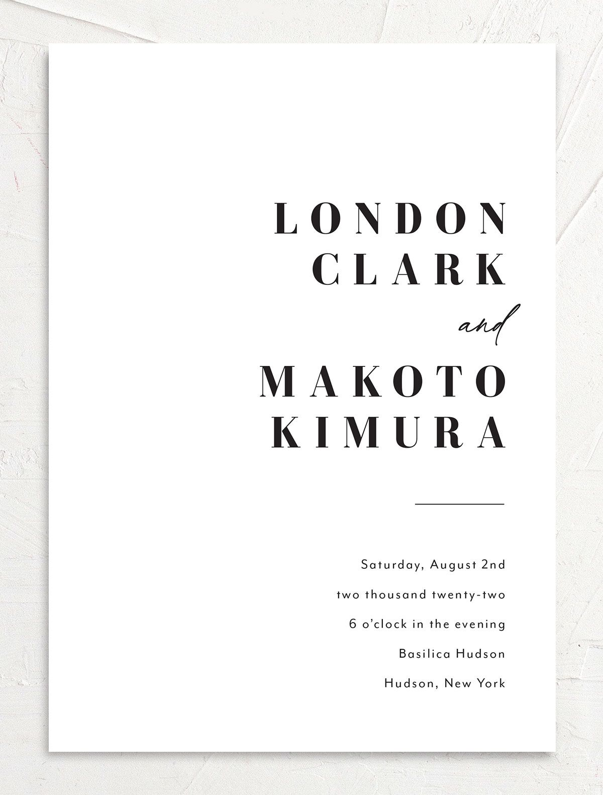 Modern Bodoni Wedding Invitation front