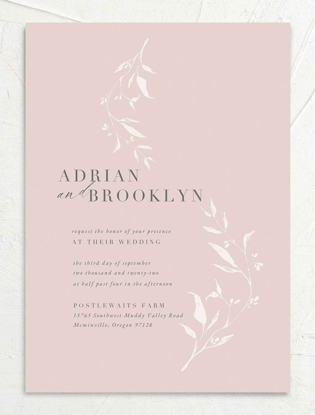Rustic Minimal Wedding Invitation front in pink