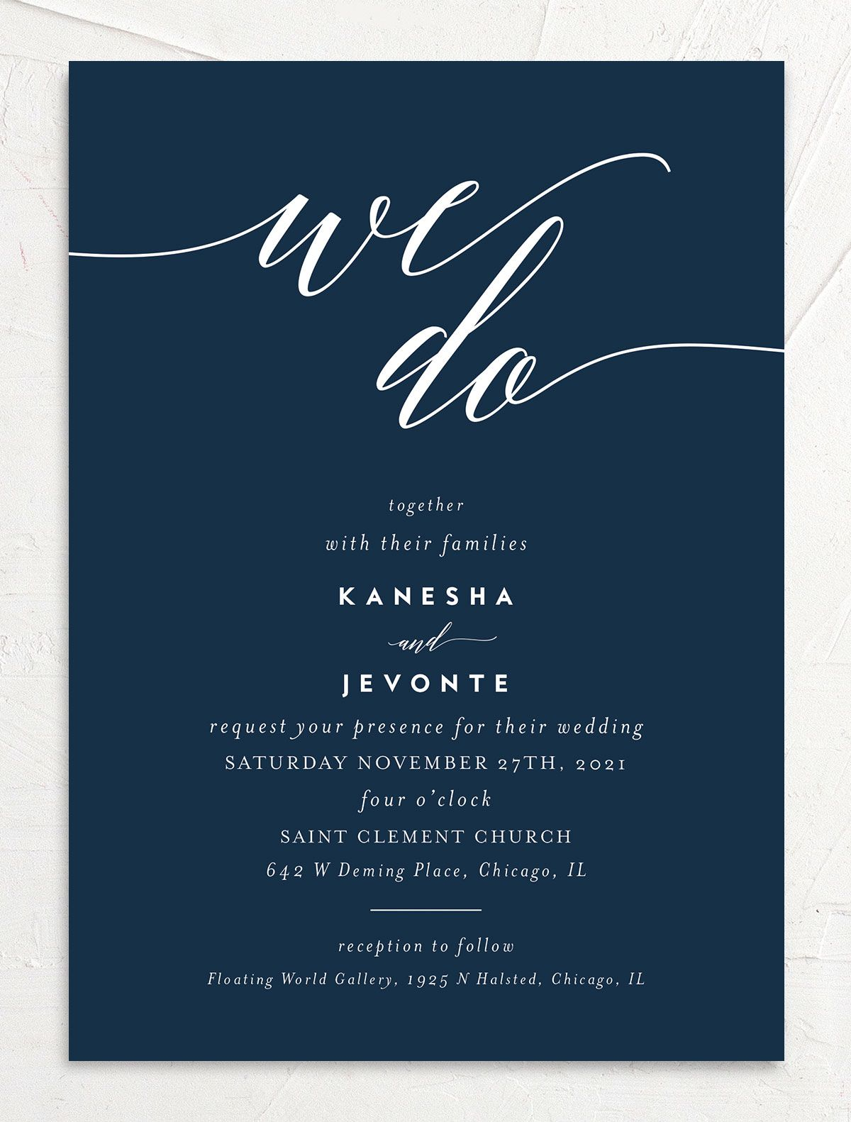 We Do Wedding Invitation front blue
