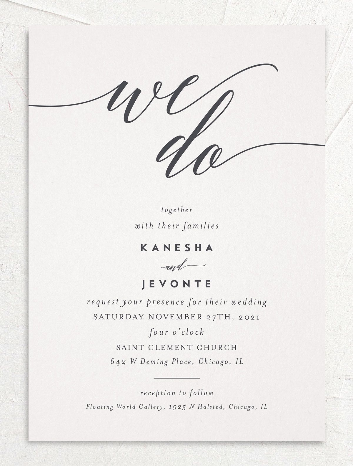 We Do Wedding Invitation front grey