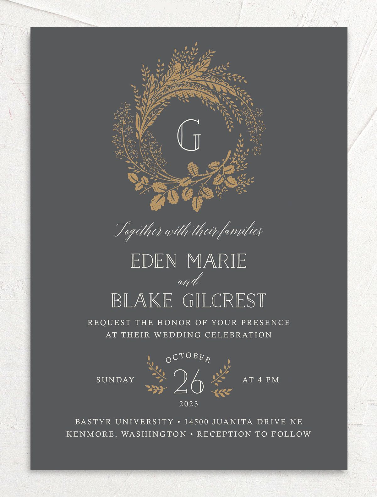 Woodsy Wreath Wedding Invitation front Grey