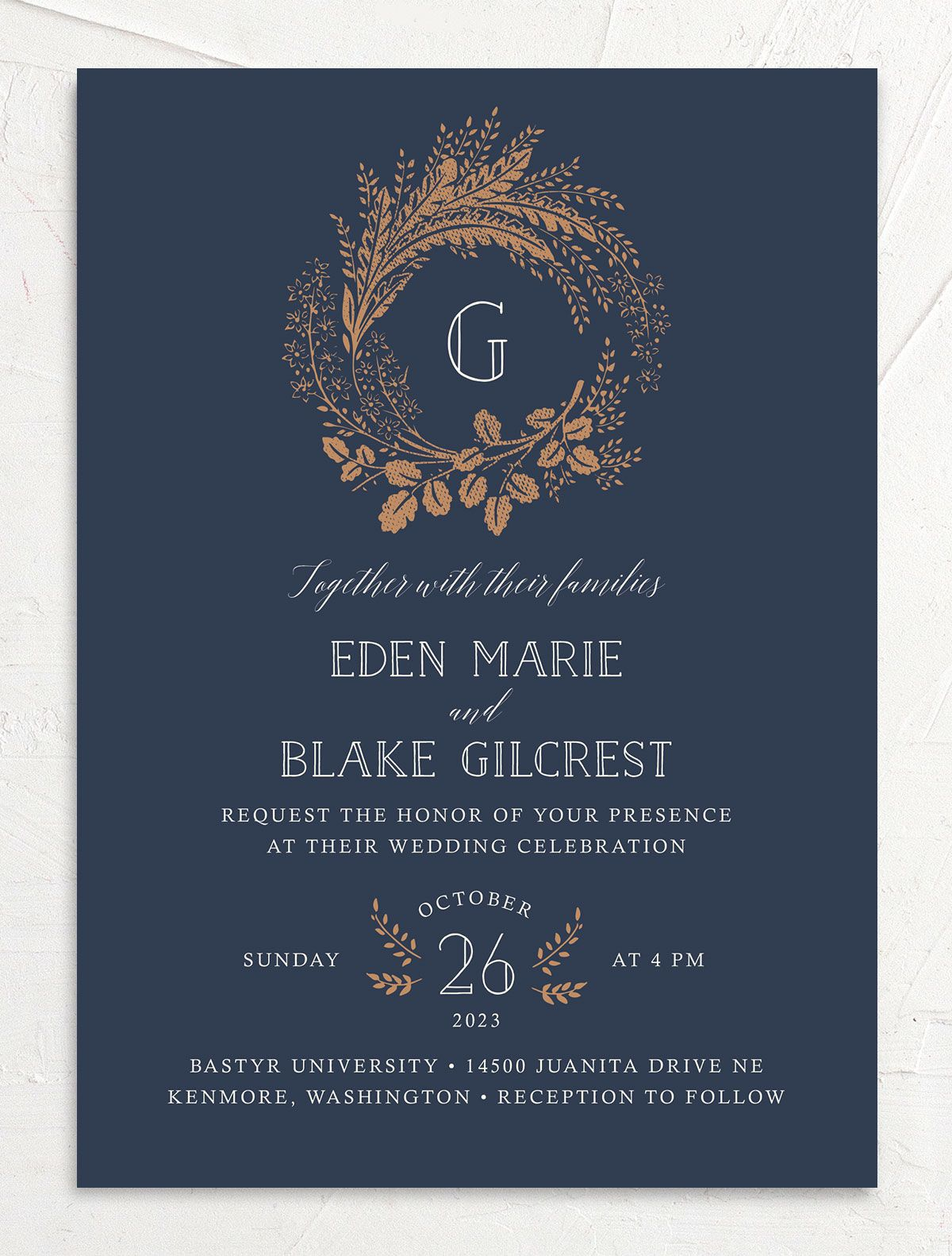 Woodsy Wreath Wedding Invitation front Navy