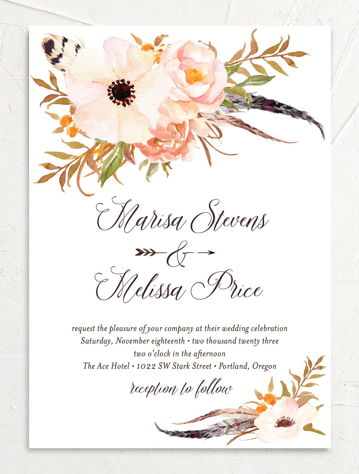 Bohemian Floral Wedding Invitation front peach