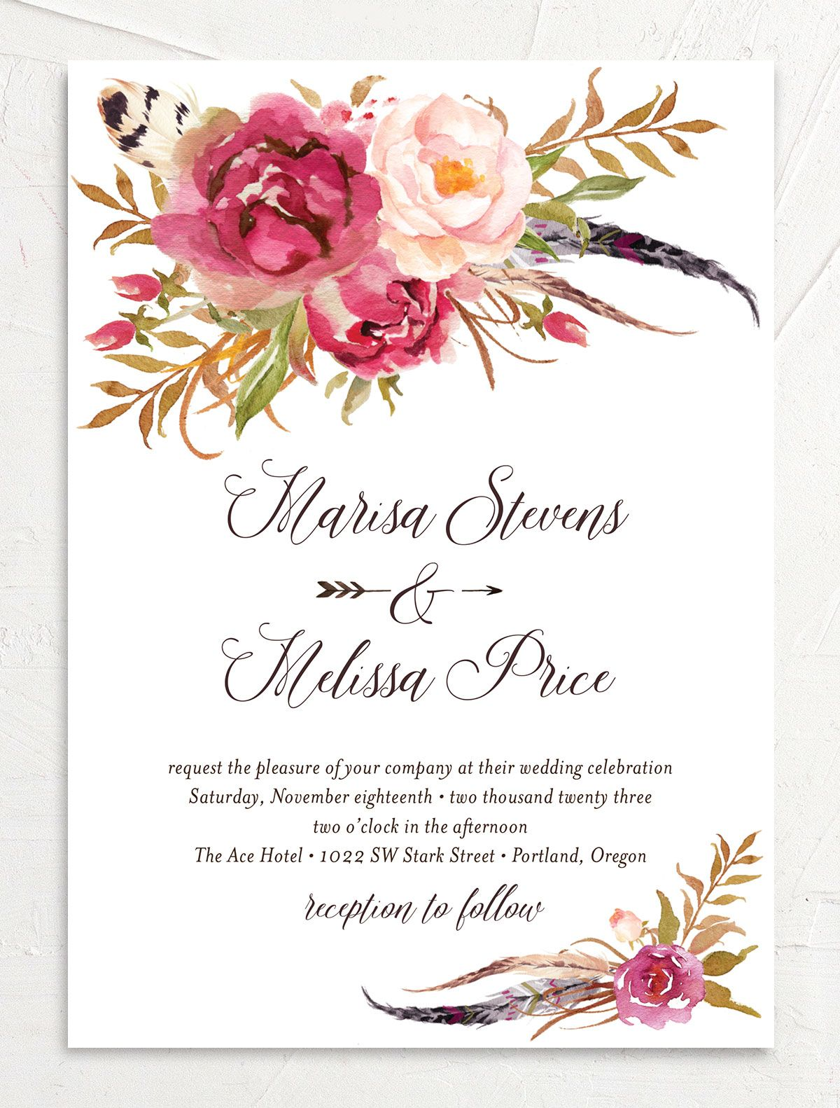 Bohemian Floral Wedding Invitation front pink