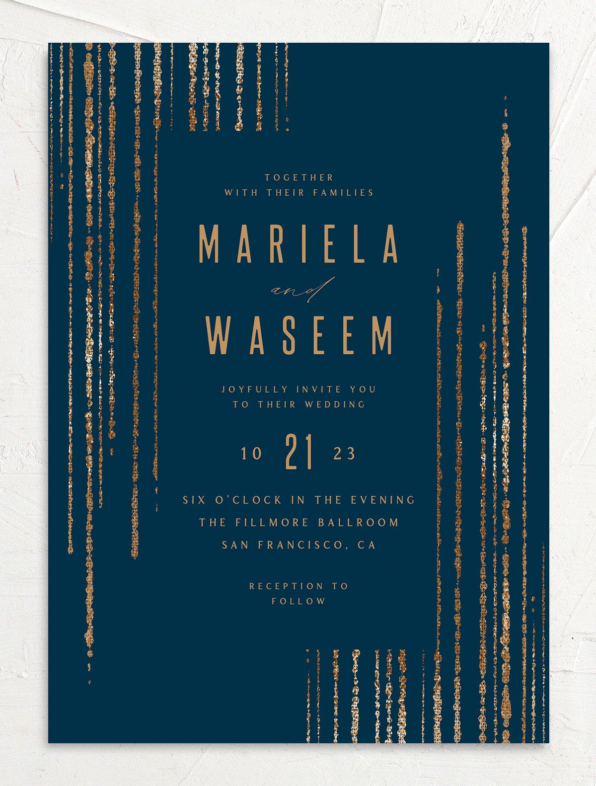 Classic Cascade Wedding Invitation front in navy