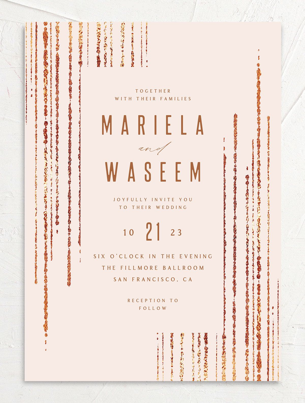 Classic Cascade Wedding Invitation front in pink