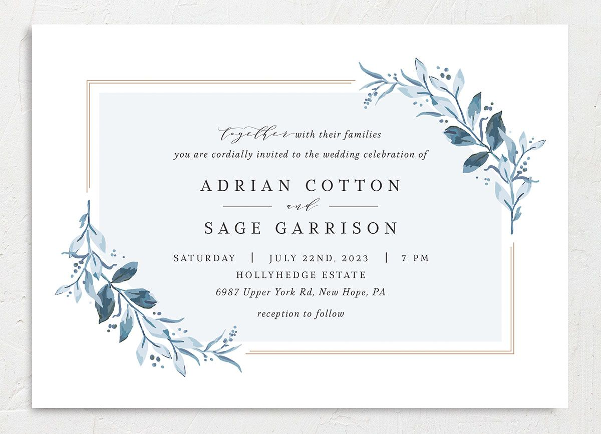 Classic Greenery Wedding Invitation front in blue