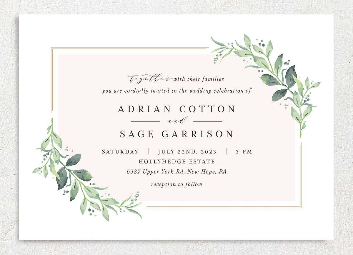 Classic Greenery Wedding Invitation front in pink