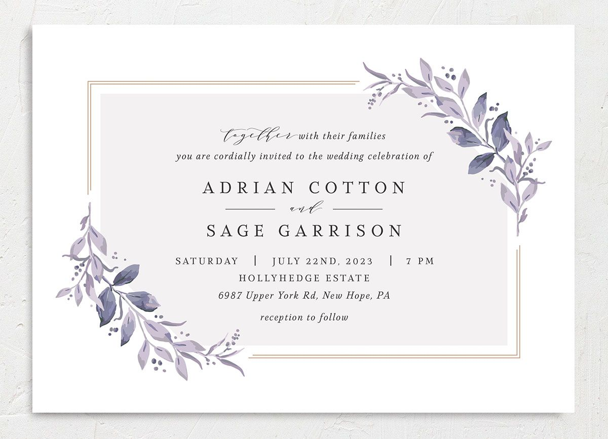 Classic Greenery Wedding Invitation front in purple