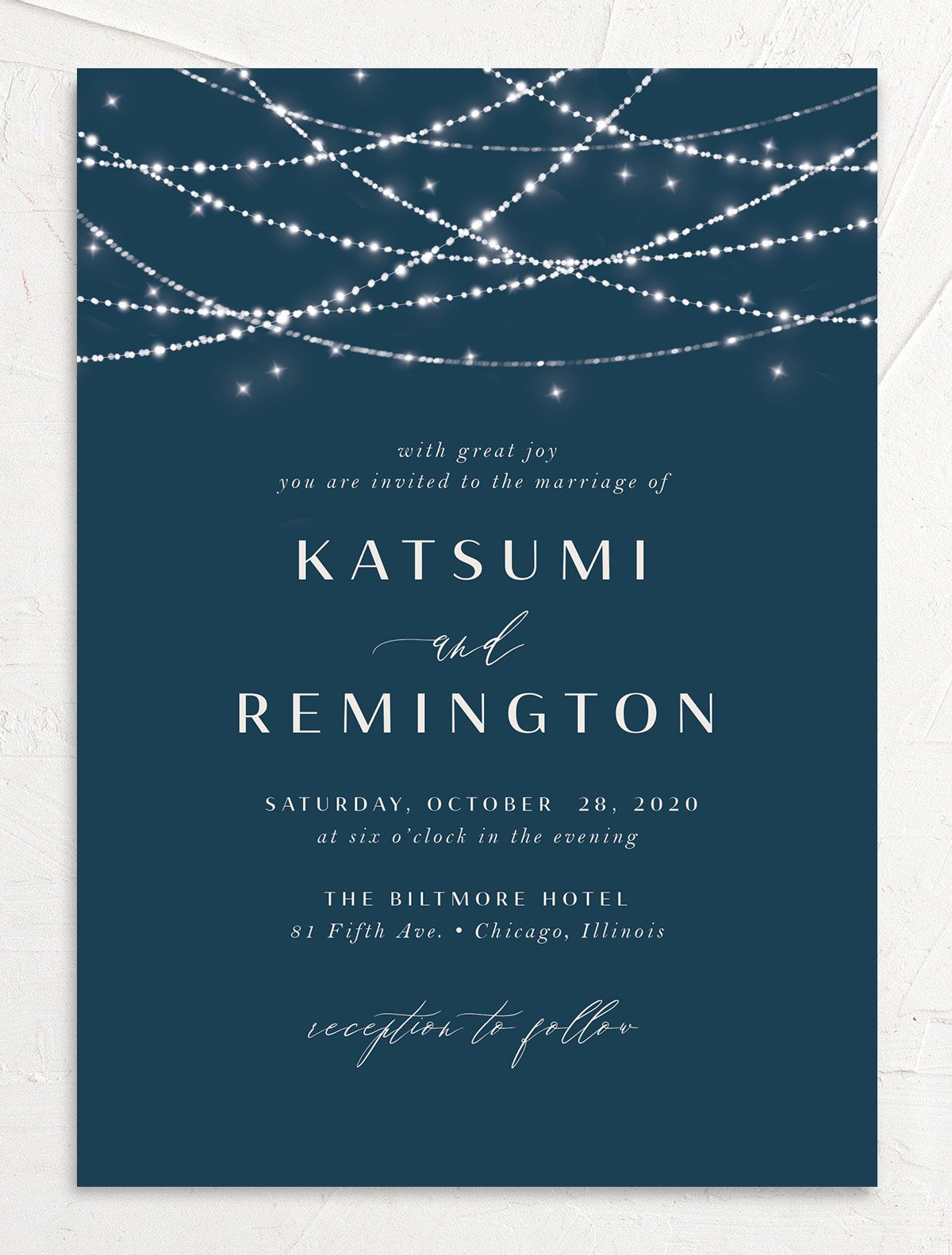 Elegant Lights Wedding Invitation front
