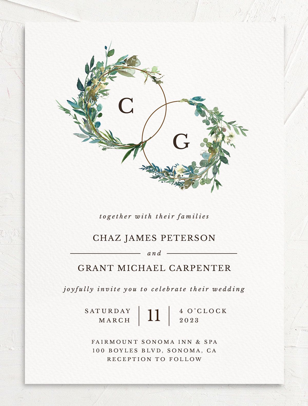 Leafy Hoops Wedding Invitation front