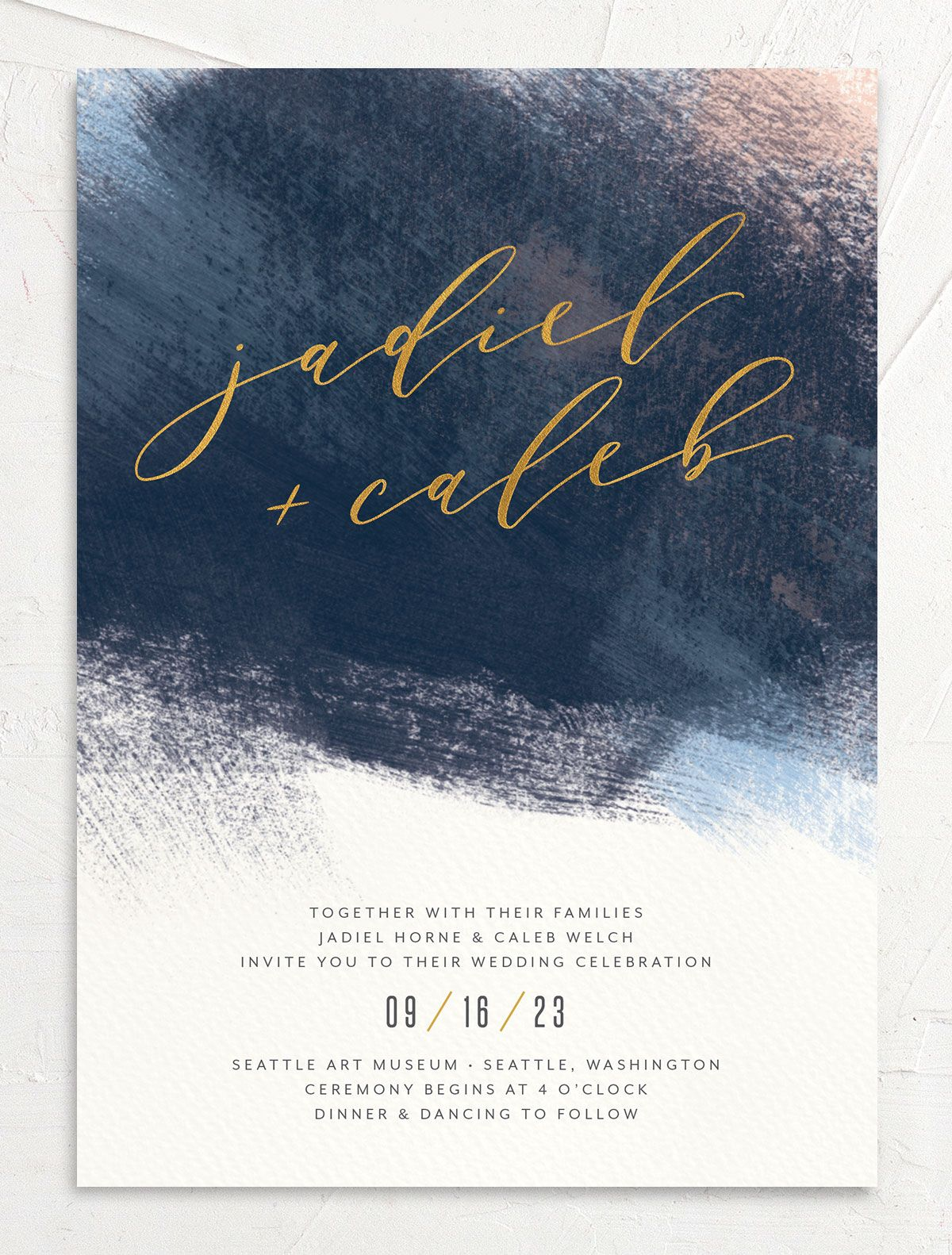 Modern Brushstroke Wedding Invitation front blue