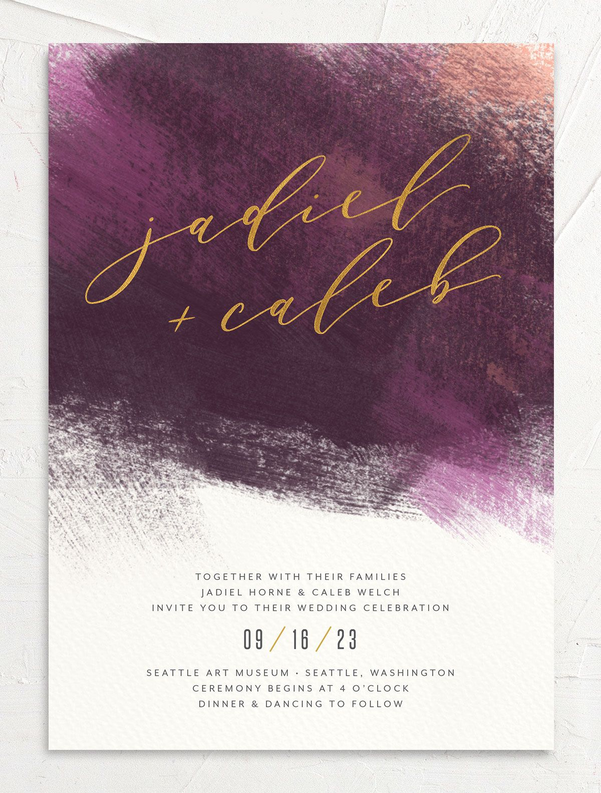 Modern Brushstroke Wedding Invitation front purple