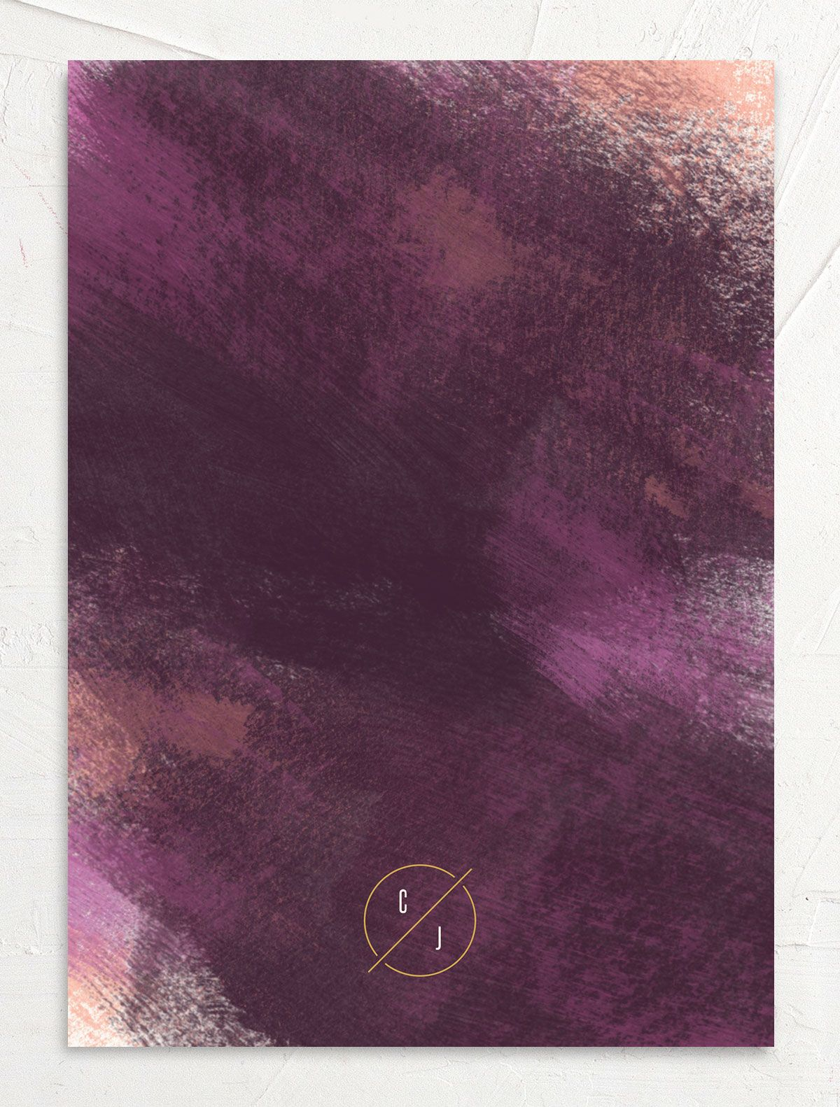 Modern Brushstroke Wedding Invitation back purple