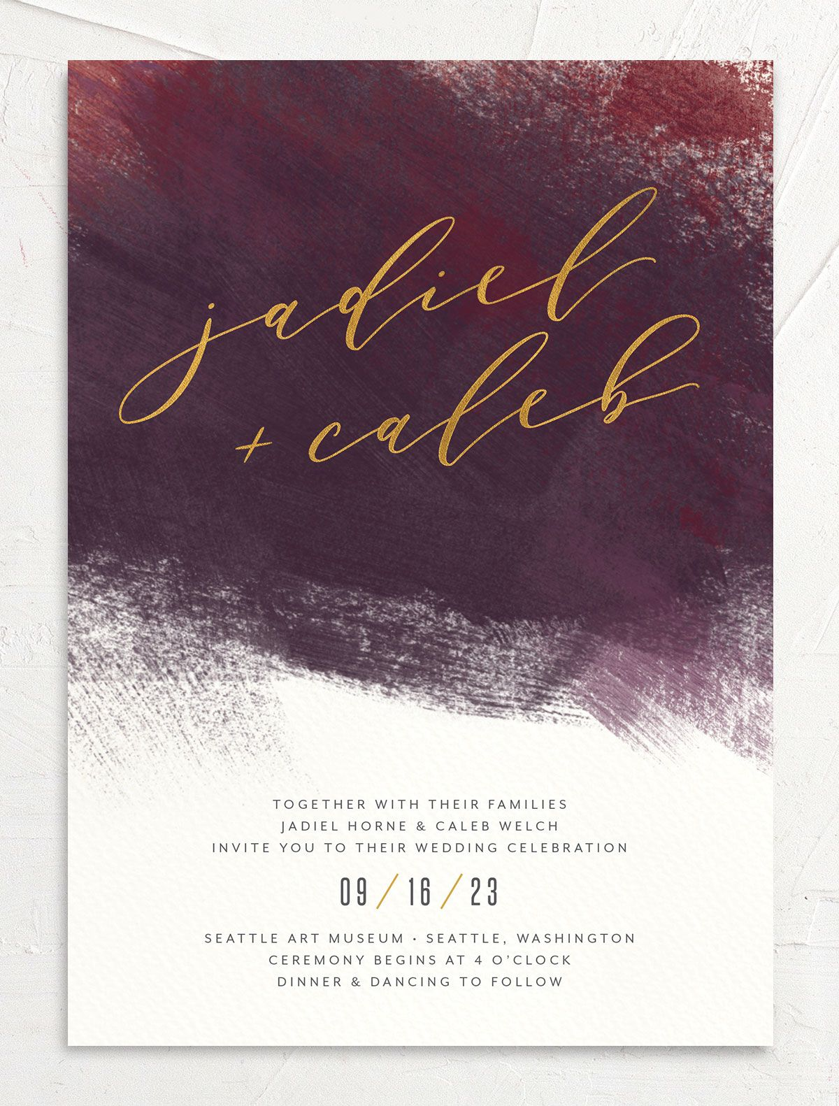 Modern Brushstroke Wedding Invitation front burgundy