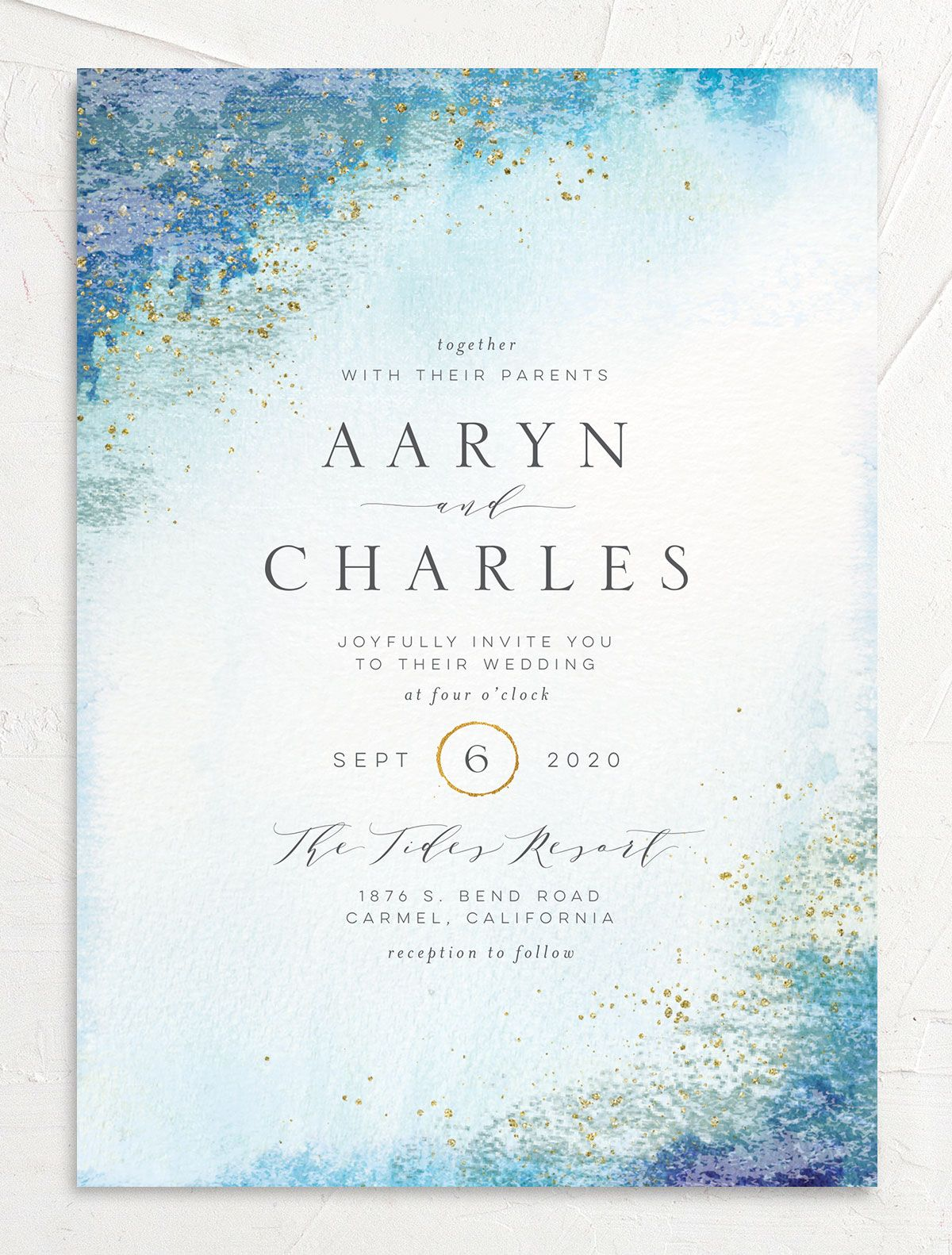 Organic Luxe Wedding Invitation front blue