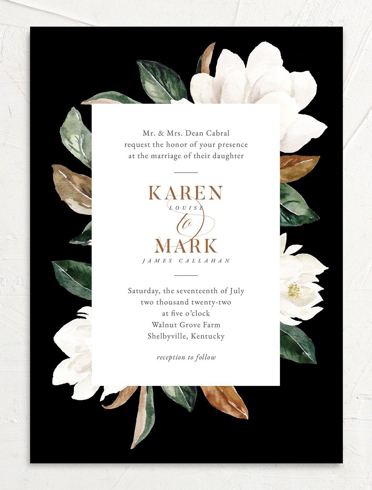 Painted Magnolia Wedding Invitation front in black
