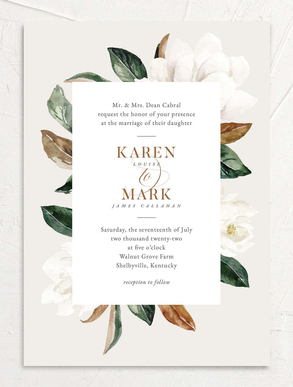 Painted Magnolia Wedding Invitation front in grey